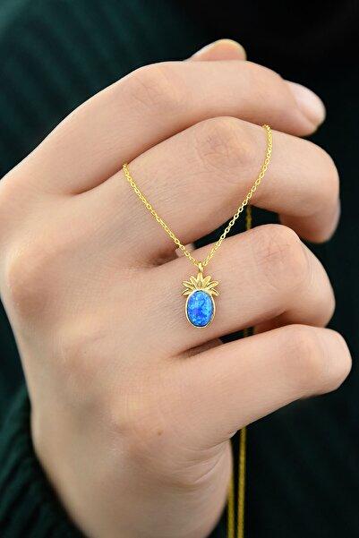 Papatya Silver 925 Ayar Gümüş Gold Kaplama Mavi Opal Taşlı Ananas Kolye