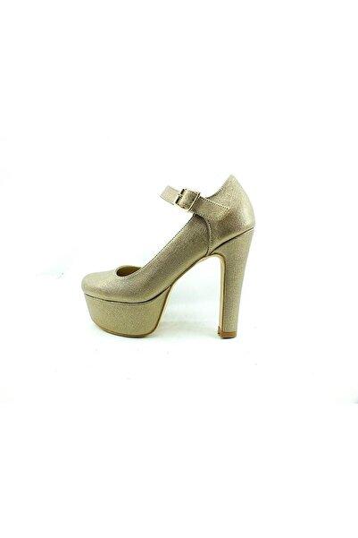 Almera Kadın Metalik Çarıkçım Topuklu Platform Abiye  Ayakkabı  80