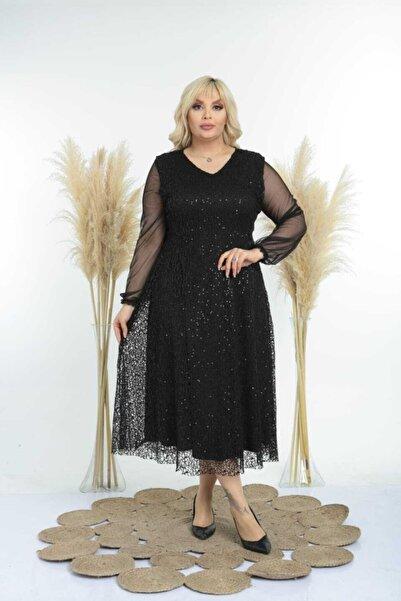ZEYN TEKSTİL Kadın Siyah Kol Tül Detay Ful Pul Payetli Abiye Elbise