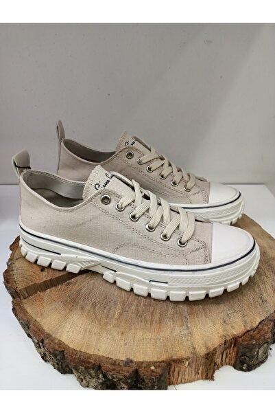 Pierre Cardin Kadın Bej Kalın Tabanlı Bağcıklı Spor Ayakkabı Pc-30661