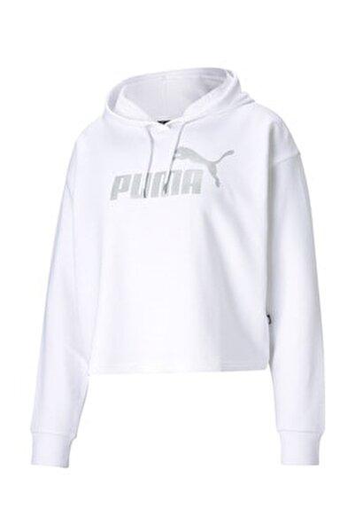 Kadın Essential Metalik Logo Sweatshirt-beyaz