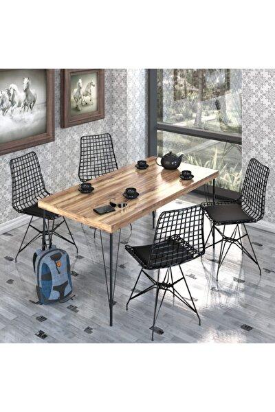 NEMSA METAL Yemek Masa Takımı Mutfak Masası Cafe Masası 4 Adet Tel Sandalye 1 Adet  Masa