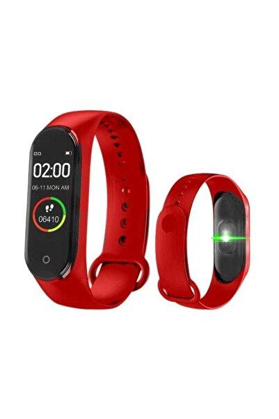 BLUPPLE M4 Akıllı Bileklik, Smart, Adım Sayar, Nabız Ölçer, Android Ve Ios Bağlantılı Saat Kırmızı