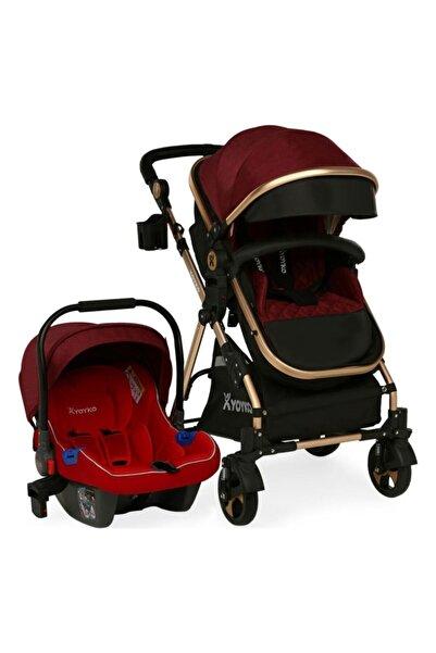 YOYKO Luxury Travel Sistem Bebek Arabası 3 In 1 Kırmızı Silver