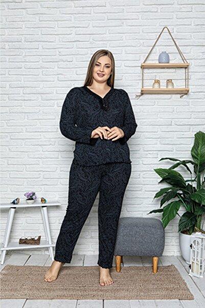 Sude Kadın Lacivert Büyük Beden Uzun Kollu Yeni Sezon Bamboo Pijama Takımı
