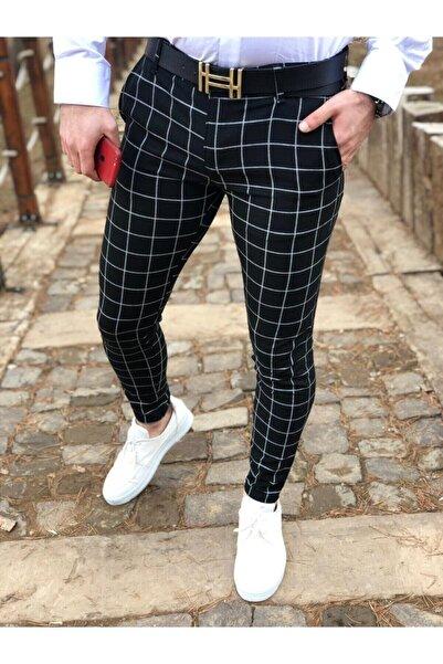 ukdwear Erkek Siyah Ekose Kumaş Pantolon