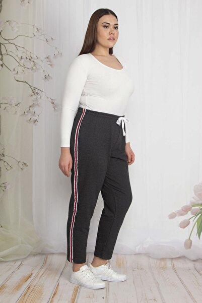 Şans Kadın Antrasit İçi Şardonlu Kumaş Yan Şeritli Bel Kısmı Lastikli Spor Pantolon 65N22205