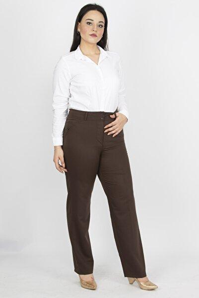 Şans Kadın Kahverengi Süs Cepli Klasik Pantolon 65N22193
