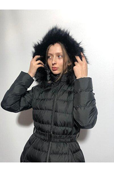 BLACK WOMAN Uzun Kapşonlu Şişme Mont