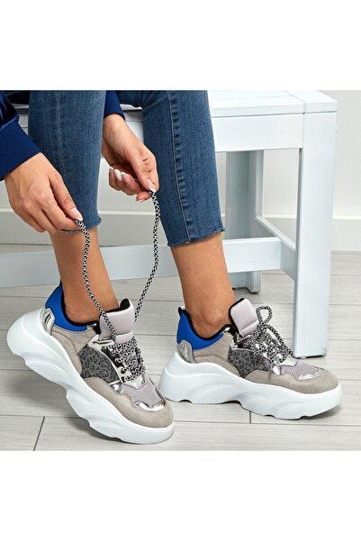 Butigo 19sf-2054 Gri Kadın Kalın Taban Sneaker Spor Ayakkabı