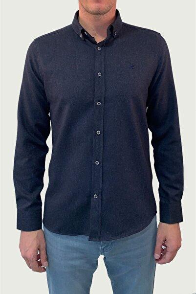 Avva Erkek Lacivert Flanel Düğmeli Yaka Regular Fit Gömlek E002001