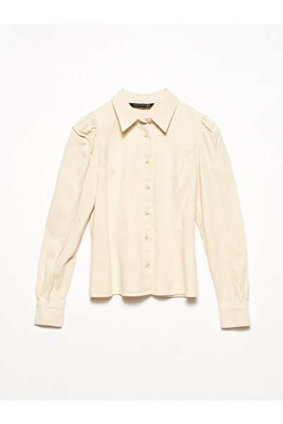 Dilvin Kadın Natural 5792 Kol Parçalı Gömlek 101A05792