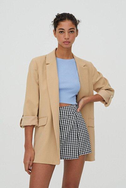 Pull & Bear Kadın Kıvrık Kollu Basic Blazer Ceket