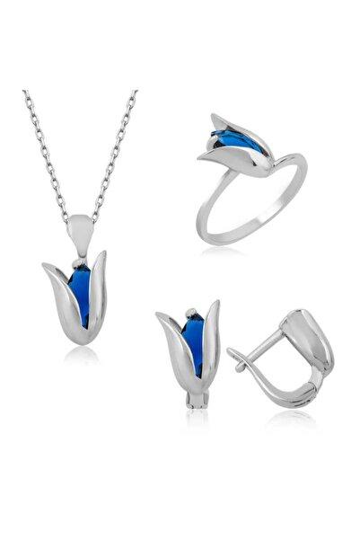 Gumush Gümüş Mavi Lale Bayan Set