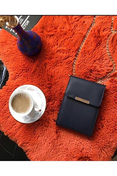 Mood Up Free Kadın Lacivert Gold Zincirli Deri Cüzdan Ve Cep Telefon Çantası