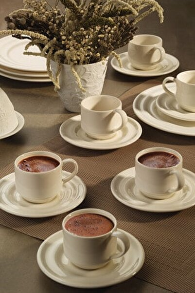 Tuvana Kahve Takımı Krem