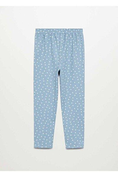 MANGO Kids Çocuk Mavi Kalpli Uzun Pijama