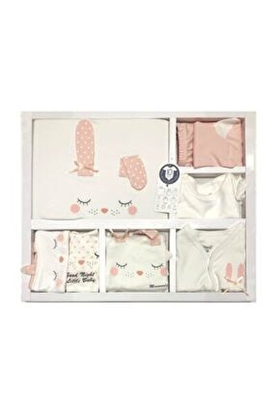 Kız Bebek Pembe Beyaz Kız Uyuyan Tavşan 10 Parça Hastane Çıkışı Zıbın Seti