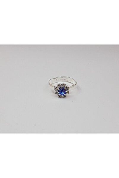 Trendyıldızı Mavi Taşlı Ayarlanabilir Kız Çocuk Yüzüğü