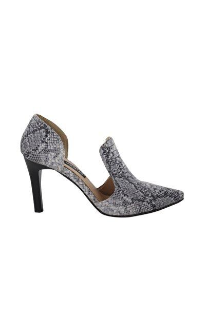 Venüs Kadın Gümüş Baskılı Topuklu Ayakkabı
