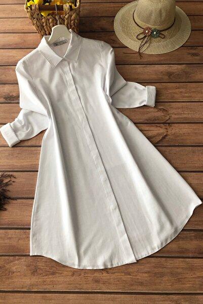 Allmıss Kadın Beyaz Tunik Gömlek