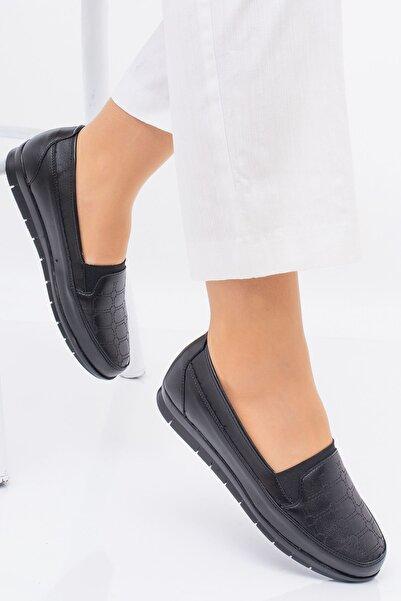 Hoba Ticaret Kadın Ortopedik Siyah Lastikli Içi Deri Günlük Rahat Ayakkabı
