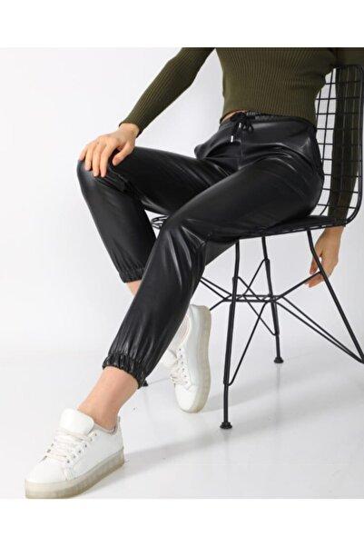 IŞILDA Kadın Giyim Beli Lastikli Düz Paça Içi Şardonlu Deri Pantalon
