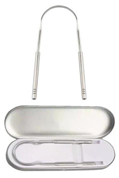 Saklama Kutulu Dil Sıyırıcı Temizleme Dil Temizleyici Gümüş Hilal Çelik Metal Paslanmaz Çelik
