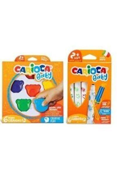 CARIOCA Jumbo Bebek Süper Yıkanabilir Keçeli Boya Kalemi Ve Teddy Baby Crayons 6 Lı +1 Yaş Boya