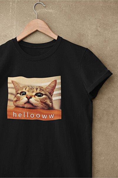 pierbypier Unisex Siyah Renk, Modern Regular Fit Kalıp, Yumuşak Kumaş Sevimli Kedi Tshirt