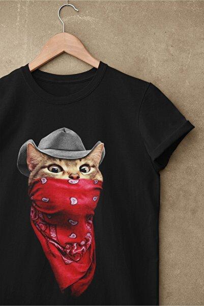 pierbypier Unisex Siyah Renk, Modern Regular Fit Kalıp, Yumuşak Kumaş Sevimli Kedi Tişört