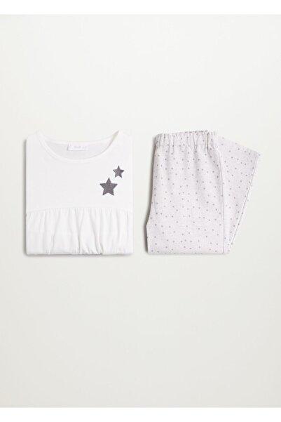 MANGO Kids Kız Çocuk Açık Kırçıllı Gri Yıldız Desenli Pijama Takımı