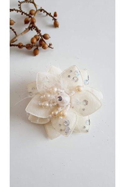 PETEK AKSESUAR Boncuk Yıldız Çiçek Klips Saç Tokası Ekru