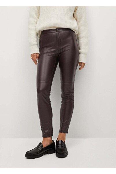MANGO Woman Kadın Şarap Rengi Dar Kesim Suni Deri Pantolon 77055547