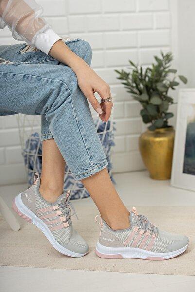 meyra moda Kadın Buz Pudra Sneaker