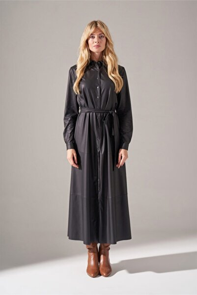 Mizalle Suni Deri Gömlek Elbise (Siyah)
