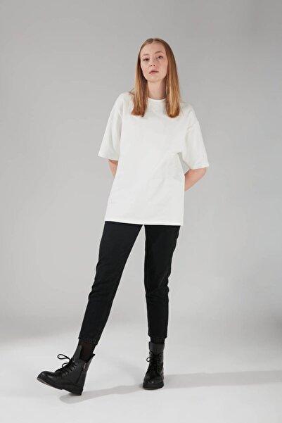 Mizalle Kadın Iki Iplik Kısa Kol T-shirt Ekru