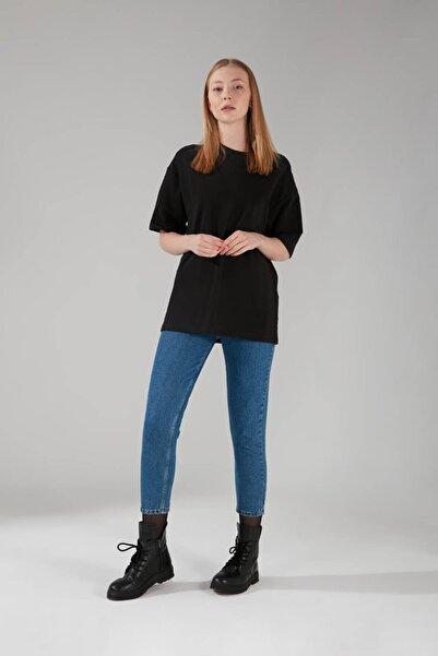 Mizalle Kadın Siyah İki İplik Kısa Kol T-Shirt