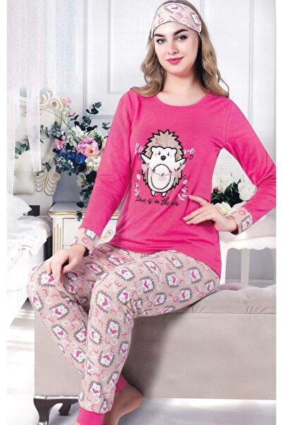 Çekmece Kadın Fuşya Desenli Uzun Kol Pamuklu Pijama Takımı