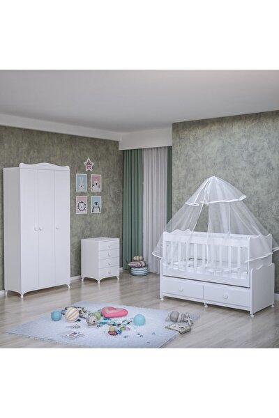 Garaj Home Elegant Yıldız 3 Kapaklı Bebek Odası Takımı - Yatak Ve Uyku Seti Kombinli- Uykuseti Beyaz