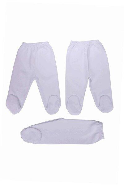 Baby Lorien Bebek Beyaz Penye 3'lü Patikli Pijama Altı