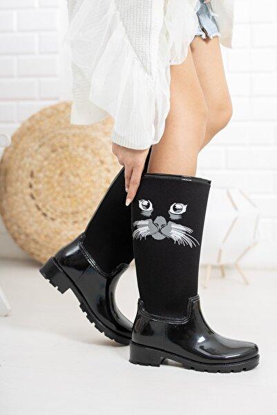 markasende Kadın Siyah Kedi Desenli Dalgıç Yağmur Çizmesi
