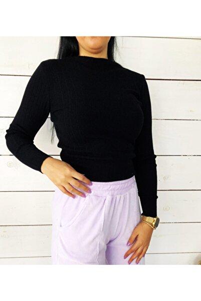 Mixray Kadın Dik Yaka Siyah Basic Body