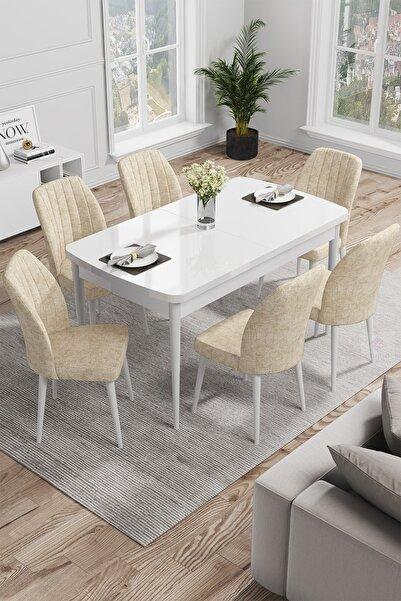 Canisa Concept Rio Serisi Mdf Beyaz Gürgen Ayaklı Açılabilir Mutfak Masa Takımı/beyaz Masa + 6 Krem Sandalye