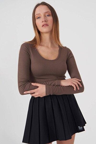 Addax Kadın Vizon Basic Bluz B1090 - T13 Adx-0000023405
