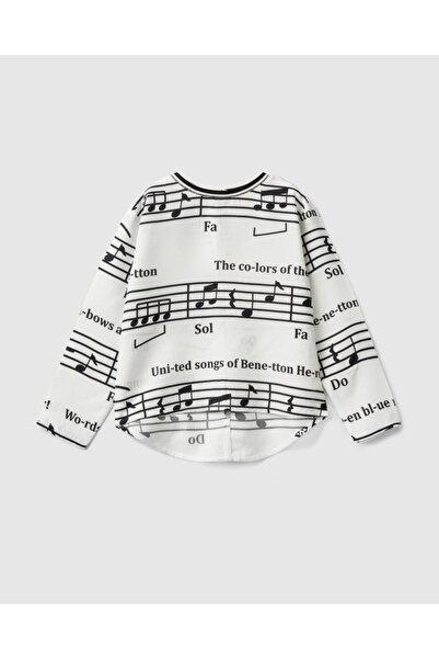United Colors of Benetton Kız Çocuk Krem Solfej Desenli Bluz