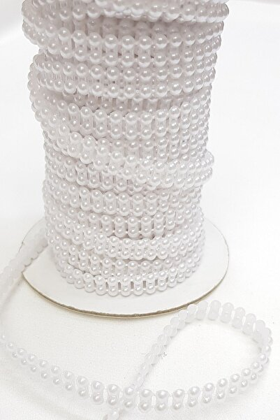Hayalperest boncuk Beyaz Çift Sıra Kesik Inci 4mm
