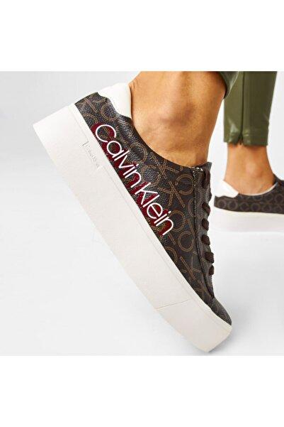 Calvin Klein Calvın Kleın Kadın Janıka Low Top Lace Up Brown Sneaker B4e6289