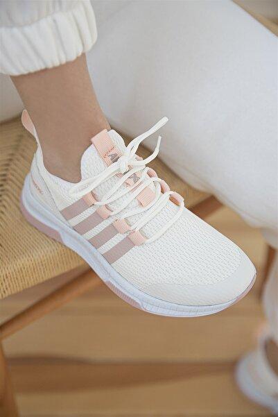 STRASWANS Sprint Kadın Streç Triko Spor Ayakkabı Beyaz-pudra