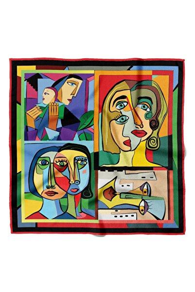Modabutik Kadın Portrait Desenli Bandana 50x50 Kırmızı Dg0238-22 Snz